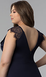 Image of short plus-size party dress with lace cap sleeves. Style: SY-IXD5723VP Detail Image 2