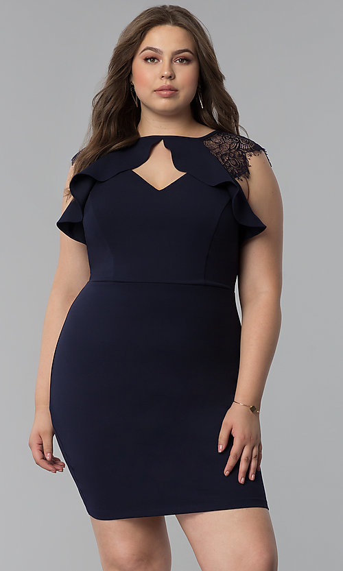 1bbf5b55 Image of short plus-size party dress with lace cap sleeves. Style: SY