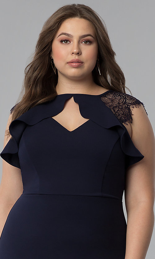 Image of short plus-size party dress with lace cap sleeves. Style: SY-IXD5723VP Detail Image 1