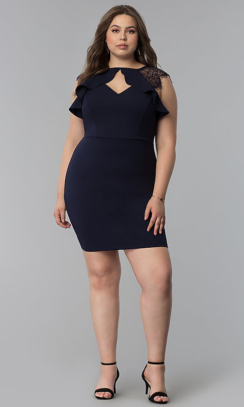 Image of short plus-size party dress with lace cap sleeves. Style: SY-IXD5723VP Detail Image 3