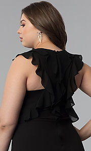 Image of plus-size black sheath party dress with ruffles. Style: SY-IXD5766VP Detail Image 2