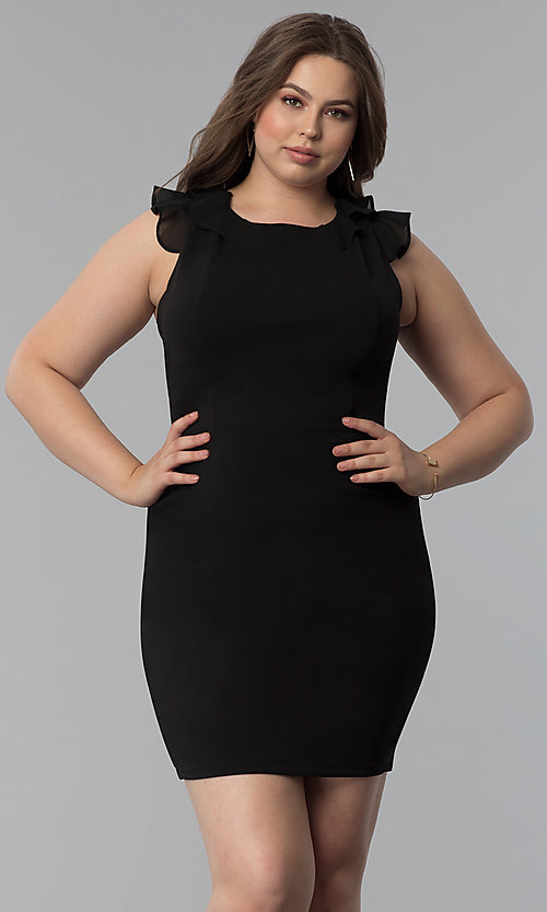 Image of plus-size black sheath party dress with ruffles. Style: SY-IXD5766VP Back Image