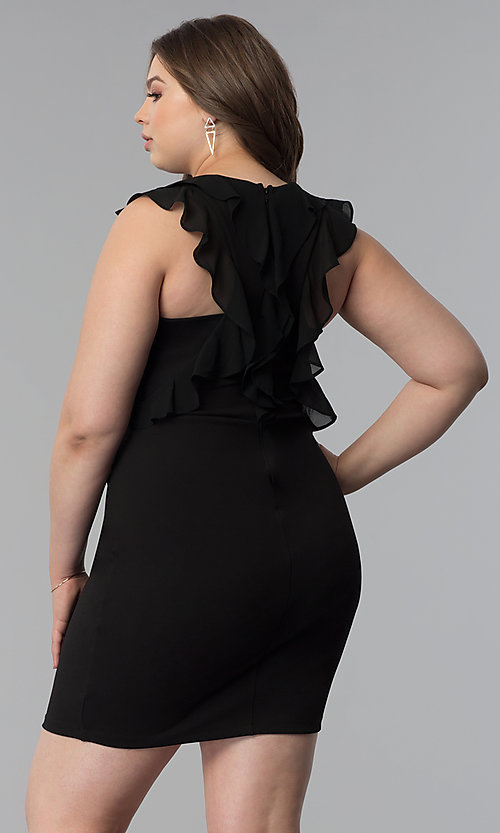Image of plus-size black sheath party dress with ruffles. Style: SY-IXD5766VP Front Image