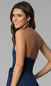 Image of short high-neck open-back short halter party dress. Style: BLU-BD8779 Detail Image 2