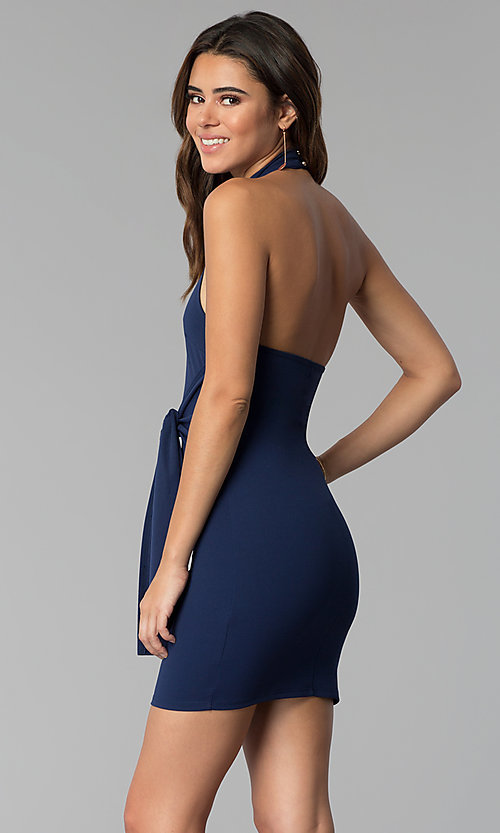 Image of short high-neck open-back short halter party dress. Style: BLU-BD8779 Back Image