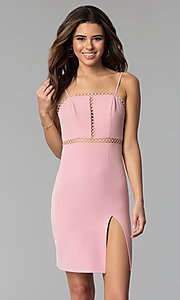 Image of side-slit short square-neck pink party dress. Style: BLU-IBD8904 Front Image