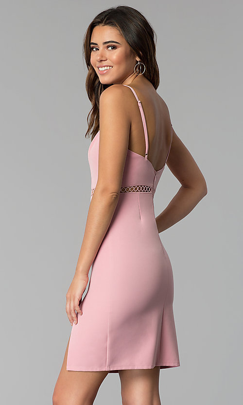 Image of side-slit short square-neck pink party dress. Style: BLU-IBD8904 Back Image