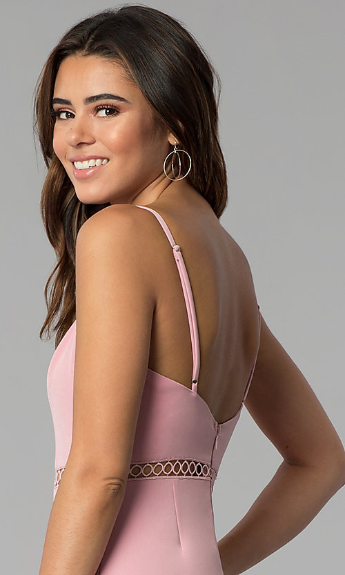 Image of side-slit short square-neck pink party dress. Style: BLU-IBD8904 Detail Image 2
