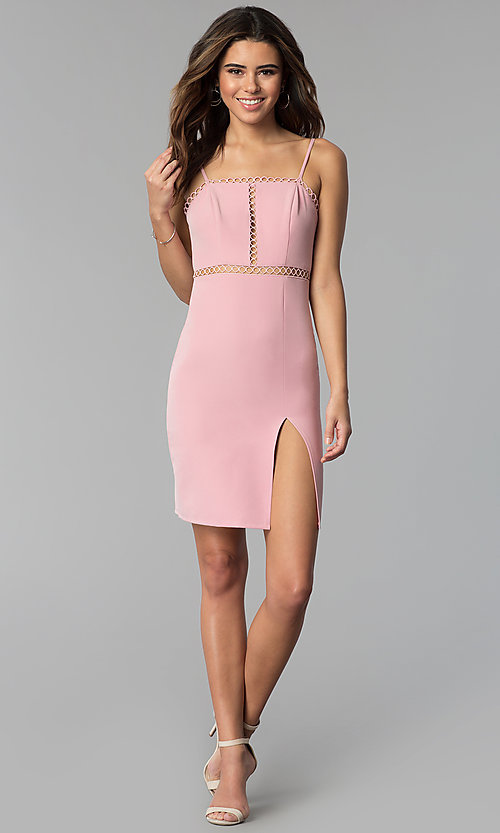 Image of side-slit short square-neck pink party dress. Style: BLU-IBD8904 Detail Image 3