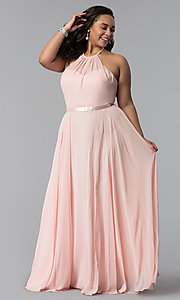 Image of long plus-size chiffon high-neck prom dress. Style: DQ-2176P Front Image