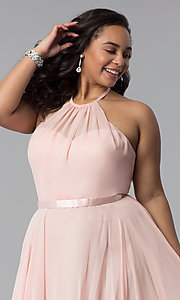 Image of long plus-size chiffon high-neck prom dress. Style: DQ-2176P Detail Image 6