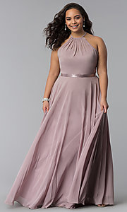 Image of long plus-size chiffon high-neck prom dress. Style: DQ-2176P Detail Image 2