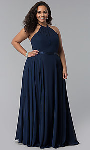 Image of long plus-size chiffon high-neck prom dress. Style: DQ-2176P Detail Image 3