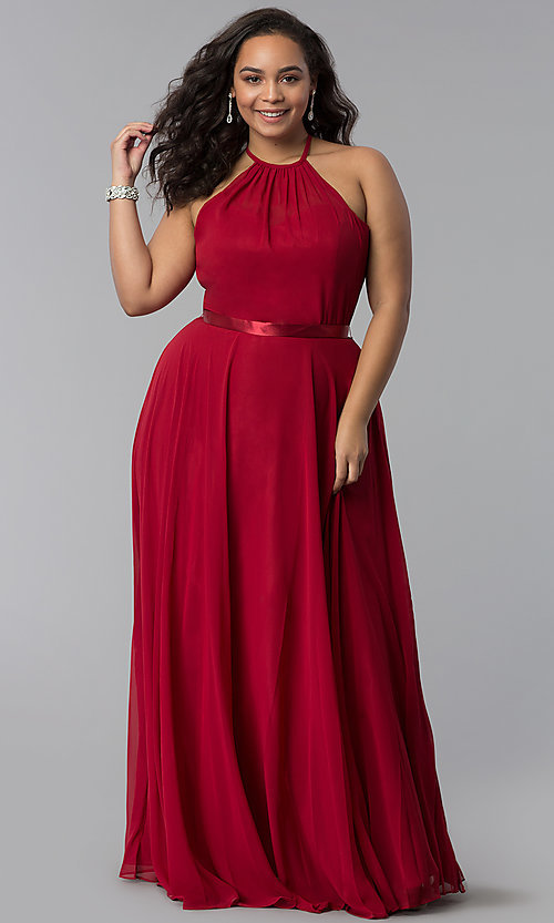 Image of chiffon a-line plus-size burgundy red prom dress. Style: DQ-2176Pb Front Image