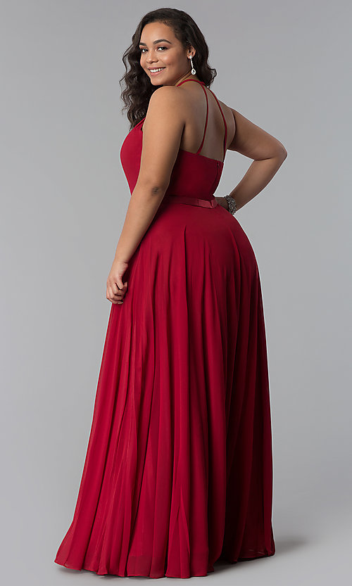 Burgundy Red Chiffon Plus-Size Prom Dress - PromGirl