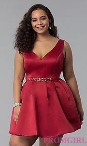 Image of v-neck a-line plus-size short prom dress in satin. Style: DQ-9514P Front Image