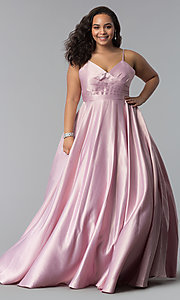 Image of plus-size a-line long satin prom dress with pleats. Style: DQ-2339P Detail Image 3