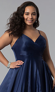 Image of plus-size a-line long satin prom dress with pleats. Style: DQ-2339P Detail Image 1