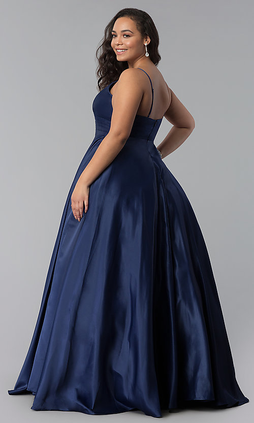 Image of plus-size a-line long satin prom dress with pleats. Style: DQ-2339P Back Image