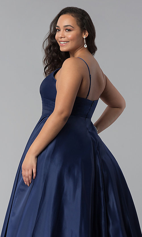 Image of plus-size a-line long satin prom dress with pleats. Style: DQ-2339P Detail Image 2