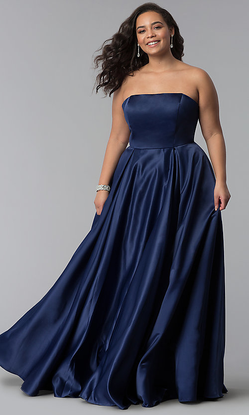 Image of strapless long plus-size corset prom dress. Style: DQ-2211P Front Image