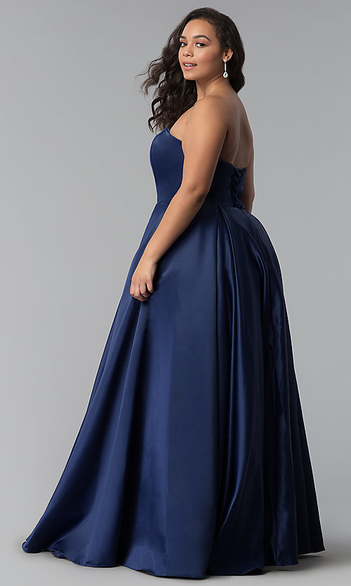 Image of strapless long plus-size corset prom dress. Style: DQ-2211P Back Image