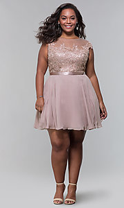 Image of short mocha a-line plus-size homecoming dress. Style: DQ-2175P Detail Image 3