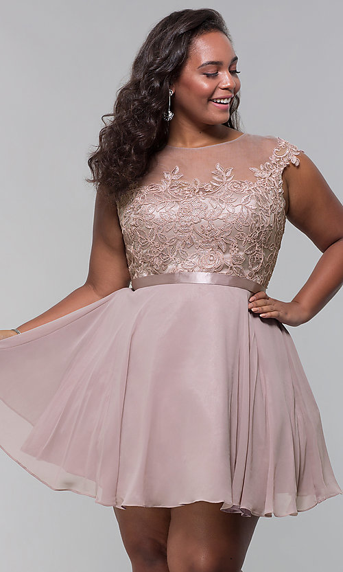 Image of short mocha a-line plus-size homecoming dress. Style: DQ-2175P Front Image