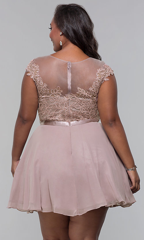 Image of short mocha a-line plus-size homecoming dress. Style: DQ-2175P Back Image