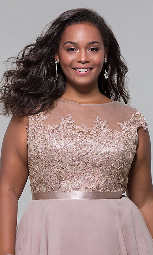 Image of short mocha a-line plus-size homecoming dress. Style: DQ-2175P Detail Image 1