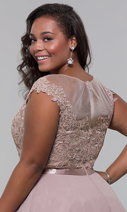 Image of short mocha a-line plus-size homecoming dress. Style: DQ-2175P Detail Image 2