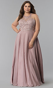 Image of plus-size long embroidered-bodice prom dress. Style: DQ-2017P Detail Image 3