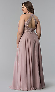 Image of plus-size long embroidered-bodice prom dress. Style: DQ-2017P Detail Image 4