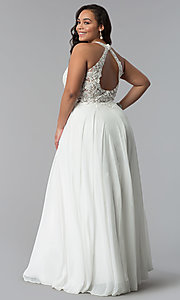 Image of plus-size long embroidered-bodice prom dress. Style: DQ-2017P Back Image