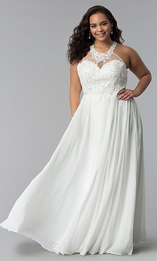 Plus-Size Long Embroidered-Bodice Prom Dress