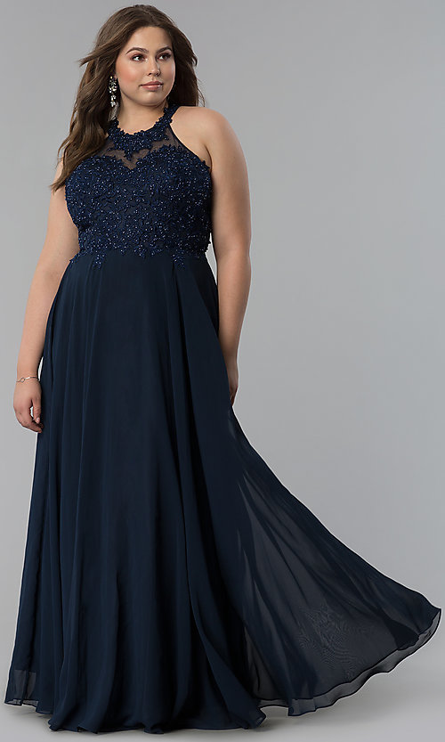 Image of plus-size long embroidered-bodice prom dress. Style: DQ-2017P Detail Image 6