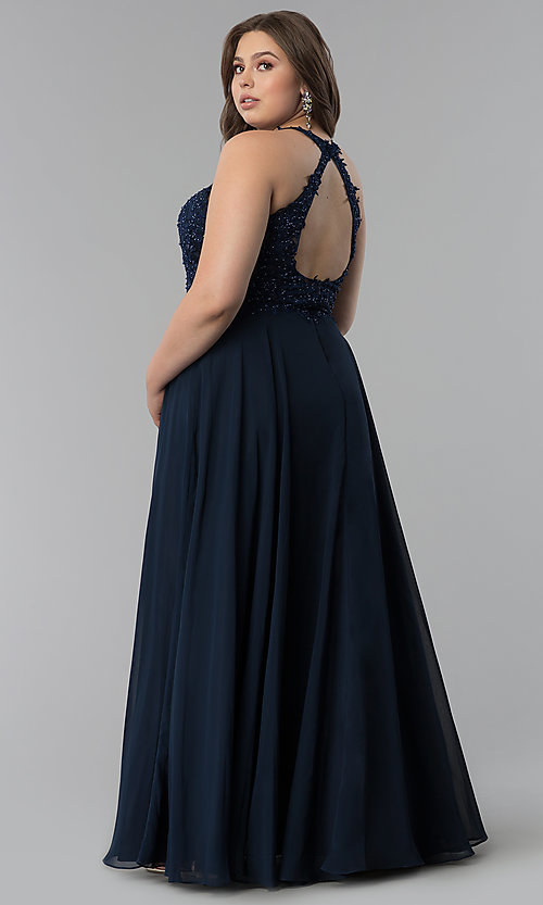 Image of plus-size long embroidered-bodice prom dress. Style: DQ-2017P Detail Image 7