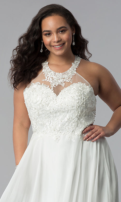 Image of plus-size long embroidered-bodice prom dress. Style: DQ-2017P Detail Image 1