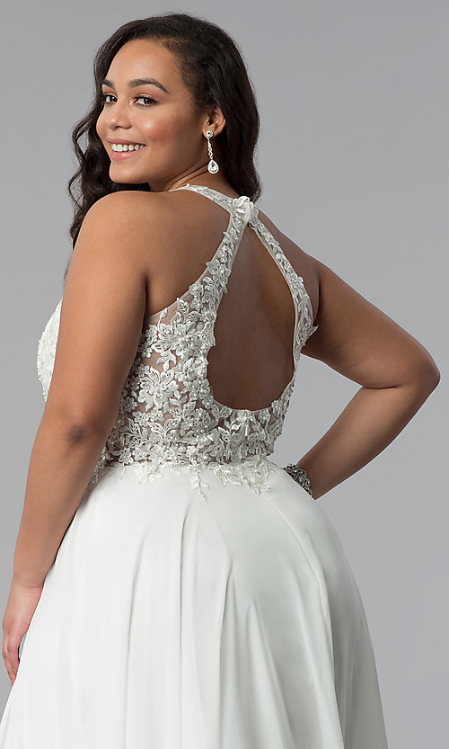 Image of plus-size long embroidered-bodice prom dress. Style: DQ-2017P Detail Image 2