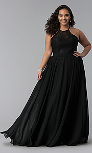 Image of long plus-size lace-bodice prom dress. Style: DQ-2009P Detail Image 2