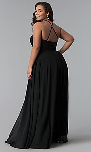 Image of long plus-size lace-bodice prom dress. Style: DQ-2009P Detail Image 4