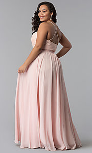 Image of long plus-size lace-bodice prom dress. Style: DQ-2009P Back Image
