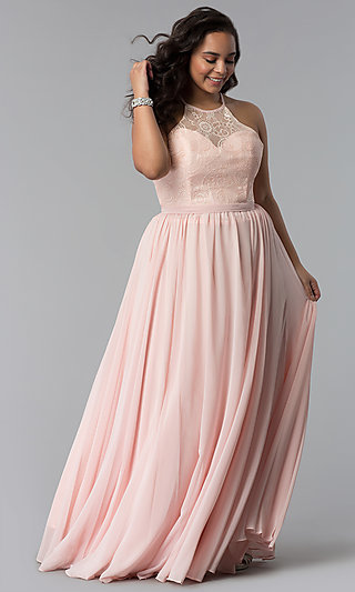 Long Plus-Size Lace-Bodice Prom Dress