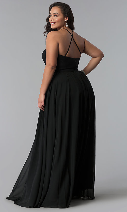 Image of long plus-size lace-bodice prom dress. Style: DQ-2009P Detail Image 3
