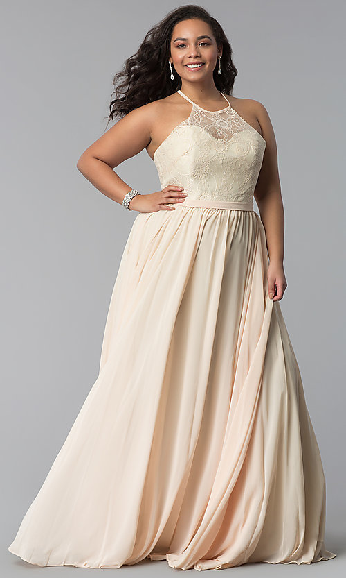 e18869fa858 Image of long plus-size lace-bodice prom dress. Style  DQ-