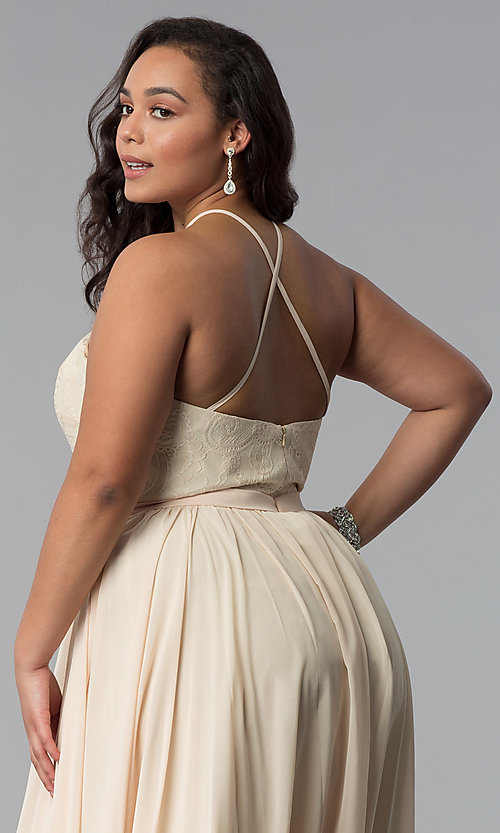 Image of long plus-size lace-bodice prom dress. Style: DQ-2009P Detail Image 8