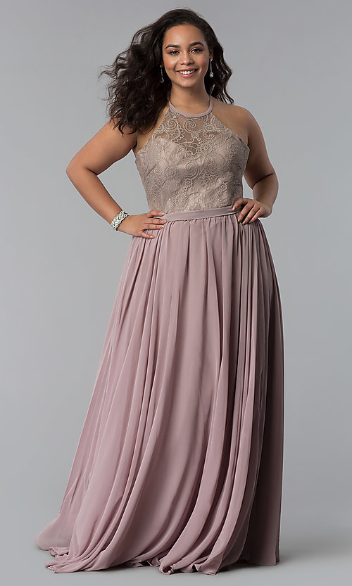 Image of long plus-size lace-bodice prom dress. Style: DQ-2009P Front Image