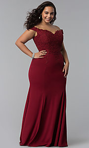 Image of off-shoulder long plus-size prom dress with lace. Style: DQ-2358P Detail Image 3