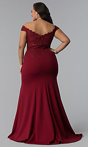 Image of off-shoulder long plus-size prom dress with lace. Style: DQ-2358P Detail Image 4