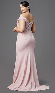 Image of off-shoulder long plus-size prom dress with lace. Style: DQ-2358P Back Image